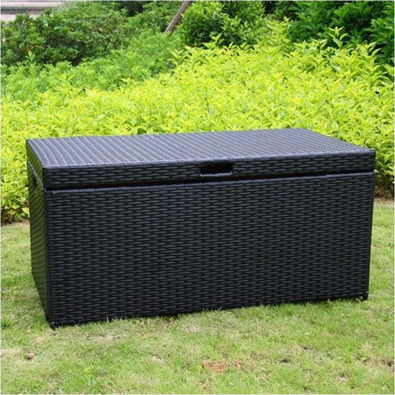 Bowery Hill Wicker Patio Storage Deck Box in Black