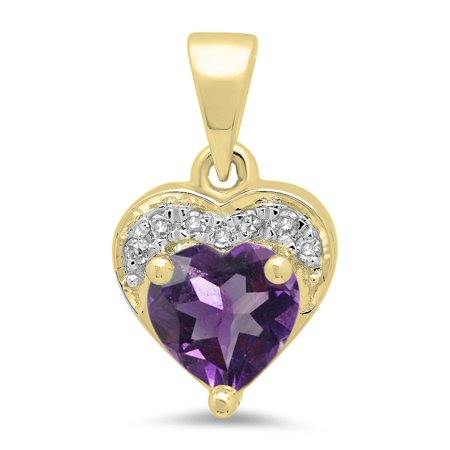 0.60 Carat (ctw) 18K Yellow Gold Heart Cut Amethyst & Round Cut White Diamond Ladies Heart Pendant