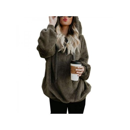 bdf5d7faf9a Nicesee - Nicesee Winter Women Warm Fleece Hooded Fluffy Sweatshirt -  Walmart.com