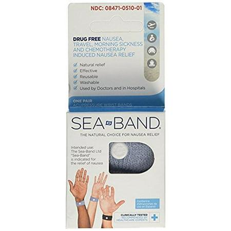 Sea-Band Adult Wristband, Natural Nausea Relief, 1-Pair, Colors May Vary