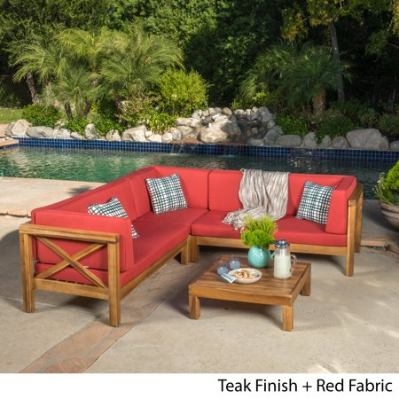 Fine Calle 4 Piece Outdoor X Back Wooden Sectional Set Multiple Colors Machost Co Dining Chair Design Ideas Machostcouk