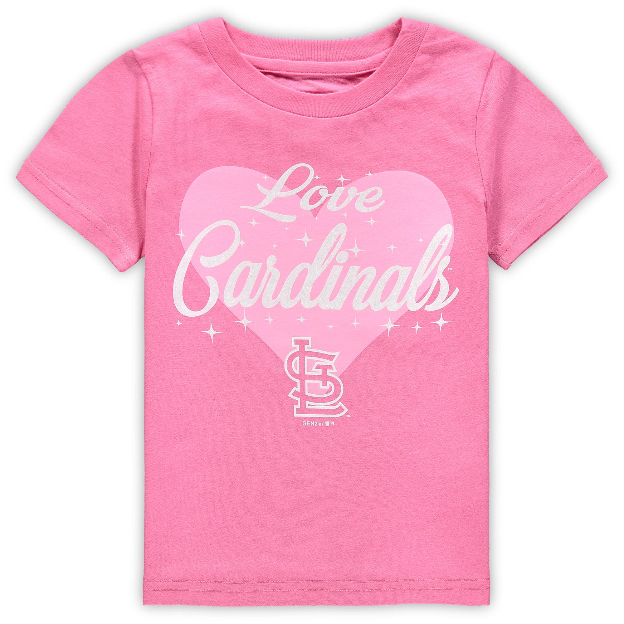 St. Louis Cardinals Girls Preschool Heart Stars T-Shirt - Pink