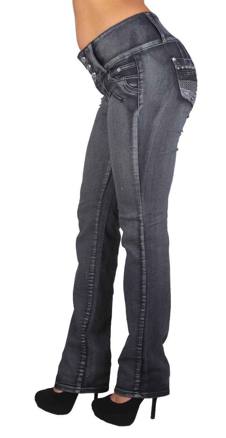 Style D700P - Plus Size High Waist Butt Lifting Stretch Boot Leg Jeans
