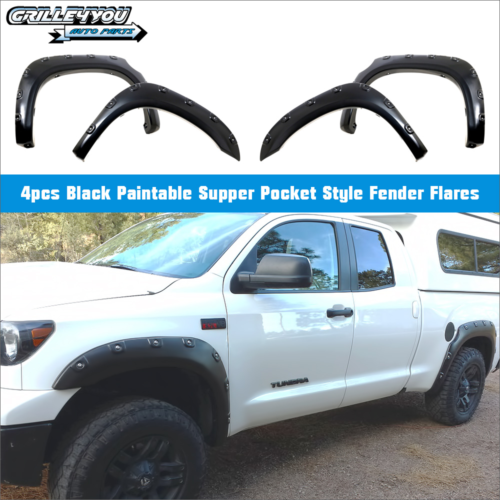 APS 4pcs Pocket-Riveted Style Black Fender Flares For 07-13 Toyota Tundra (Factory mudflaps must be removed)