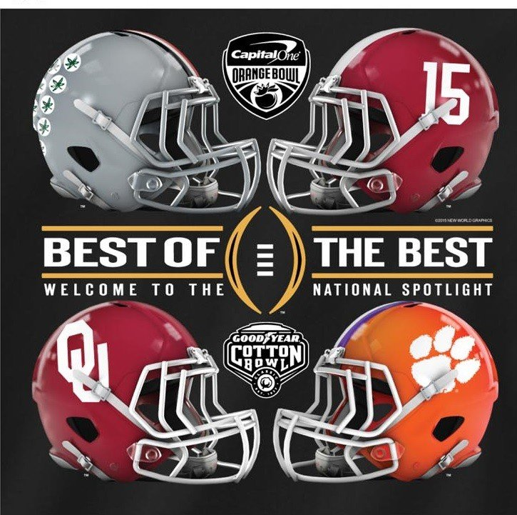 College Football Playoff Hoodie 4 Team Oklahoma Alabama Clemson Mich State L