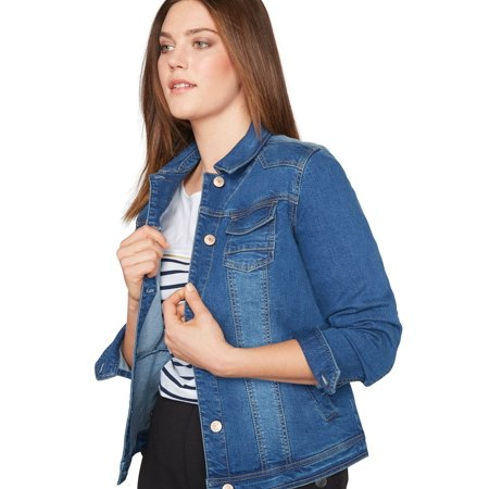 87bac3a377e Castaluna - Plus Size Classic Denim Jacket By Castaluna - Walmart.com