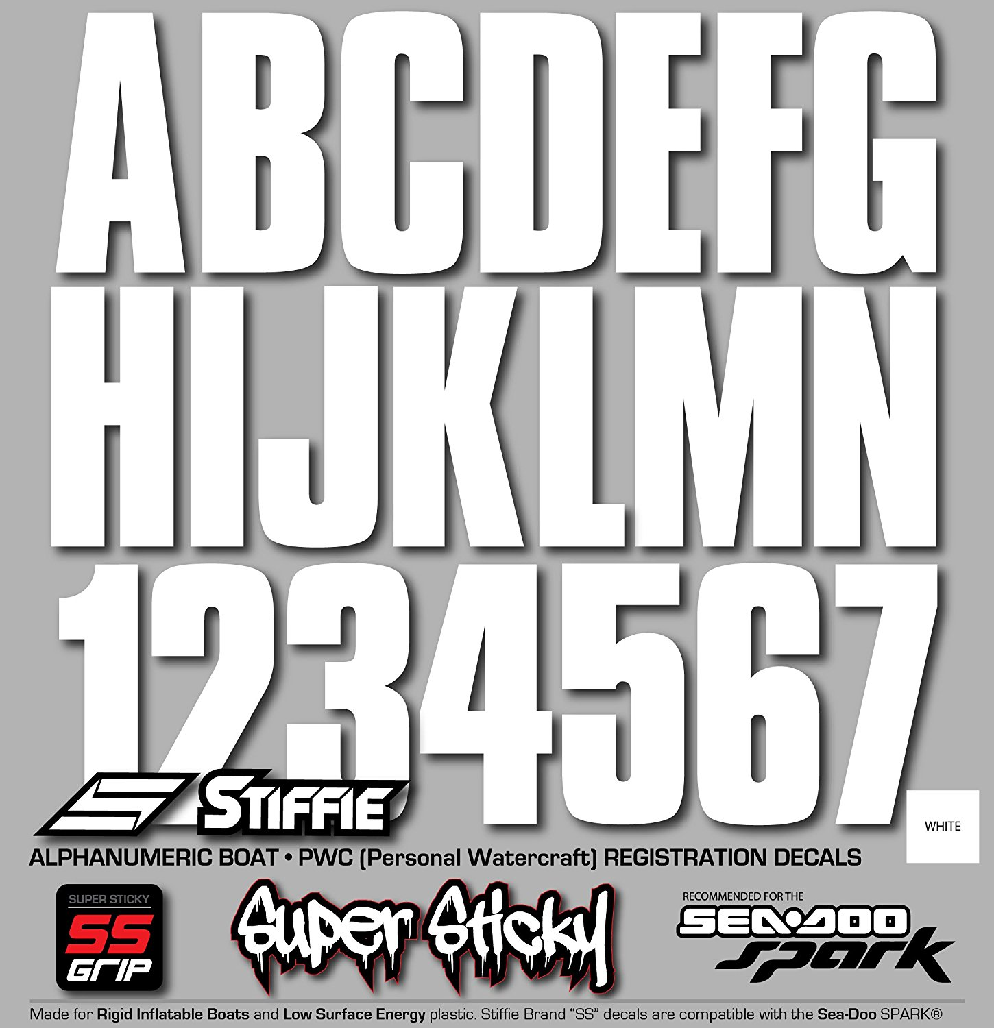 STIFFIE Uniline White Super Sticky 3 Alpha Numeric Registration Identification Numbers Stickers Decals for Sea-Doo Spark Ribs PWC and Boats. Hypalon//PVC Inflatable Boats