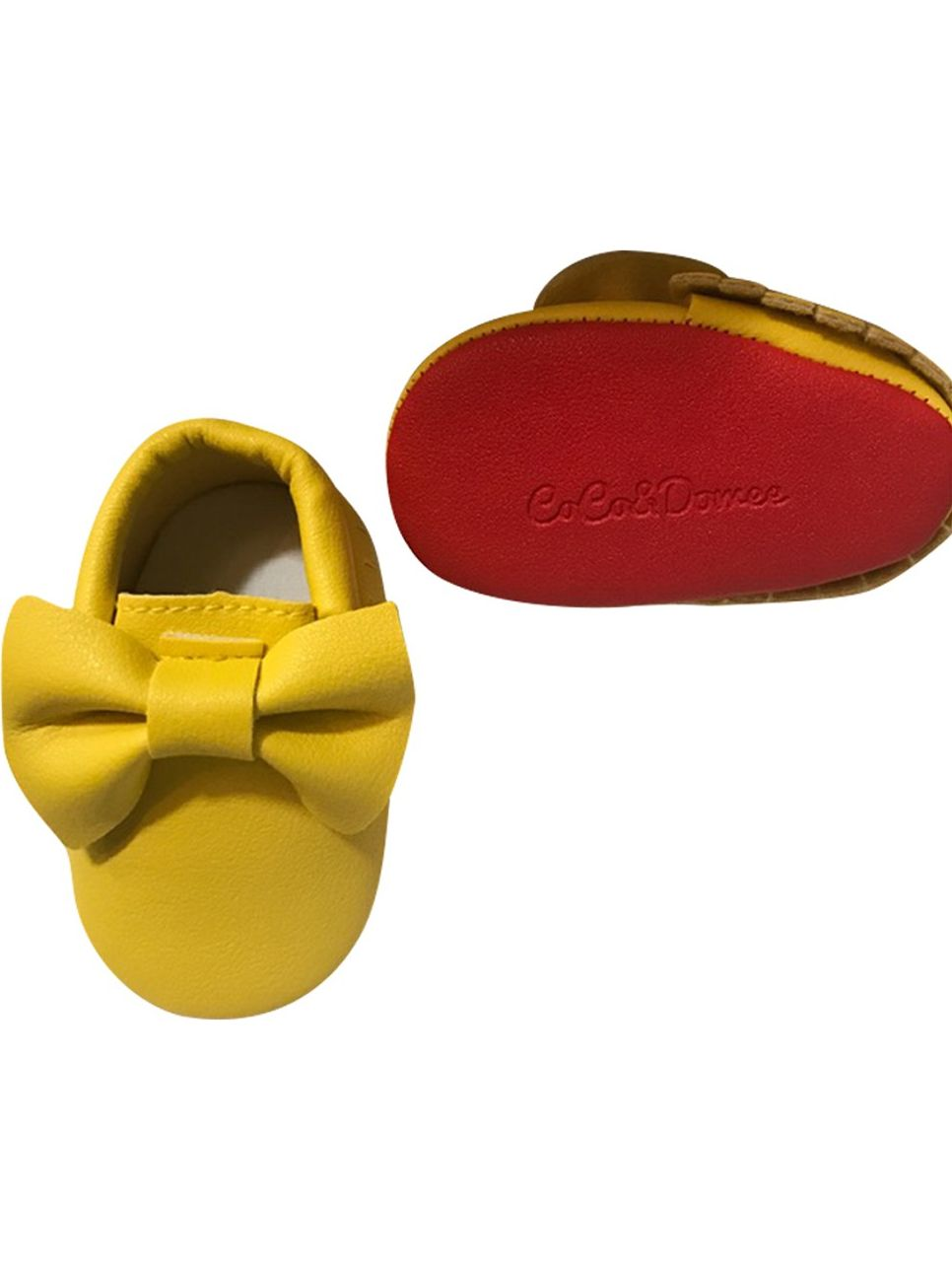 Baby Girls Yellow Red Tassel Bow Soft Sole Faux Leather Crib Shoes 3-18M