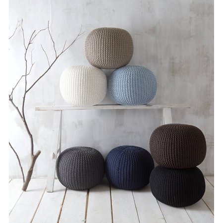 Urban Shop Round Knit Pouf, Black ()