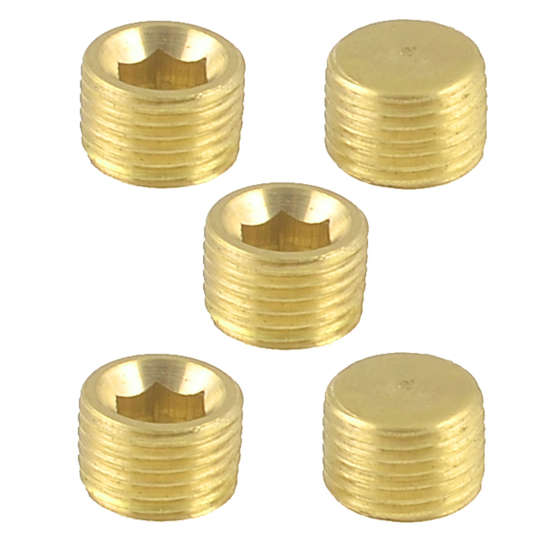 Unique Bargains 5 Pcs Air Pipe Fittings 9mm Thread Hex Socket Metal Plugs Caps Gold Tone
