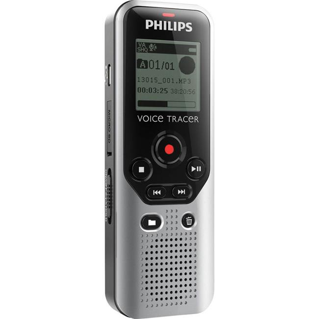Philips Speech Processing DVT1200-00 4GB Voice Tracer 1200 Digital Recorder - Black & Silver