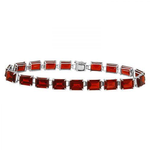 Ladies 32.8 Carat Garnet 14K White Gold Bracelet by Generic