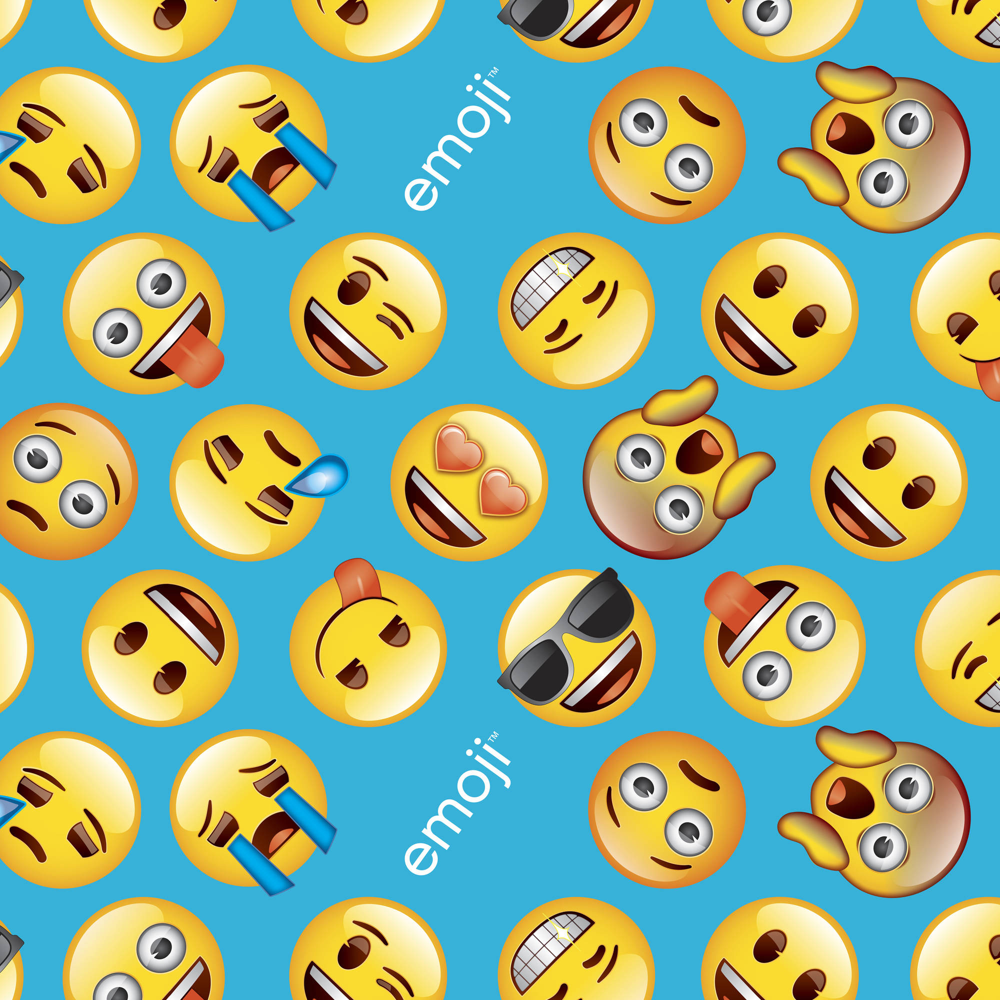 "Classic Emoji Anti-Pill Fleece Fabric By The Yard, 60/62"" W, Blue/Yellow"