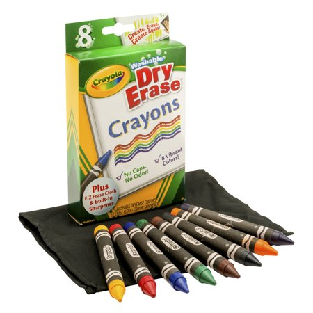 Crayola 8 Count Dry-Erase Crayons with E-Z Erase Mitt (Aquamarine Crayon)