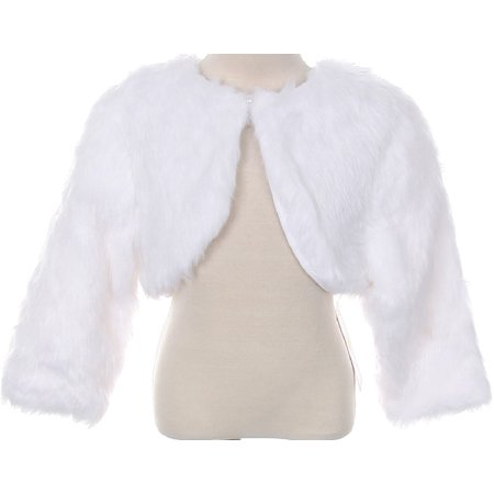 Little Baby Girls Faux Fur Flower Girl Cardigan Sweater Bolero Jacket Shrug (90TR003K) White 0 - Girls Velvet Shrug