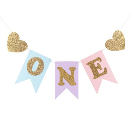 Blue And Pink 1st Birthday Banner, Glitter 'ONE' And Heart Shapes, For Baby Girl, Baby Shower, High Chair Decoration, Wall