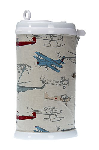 Glenna Jean Ubbi Diaper Pail Cover, Fly-By Airplane Print by Glenna Jean