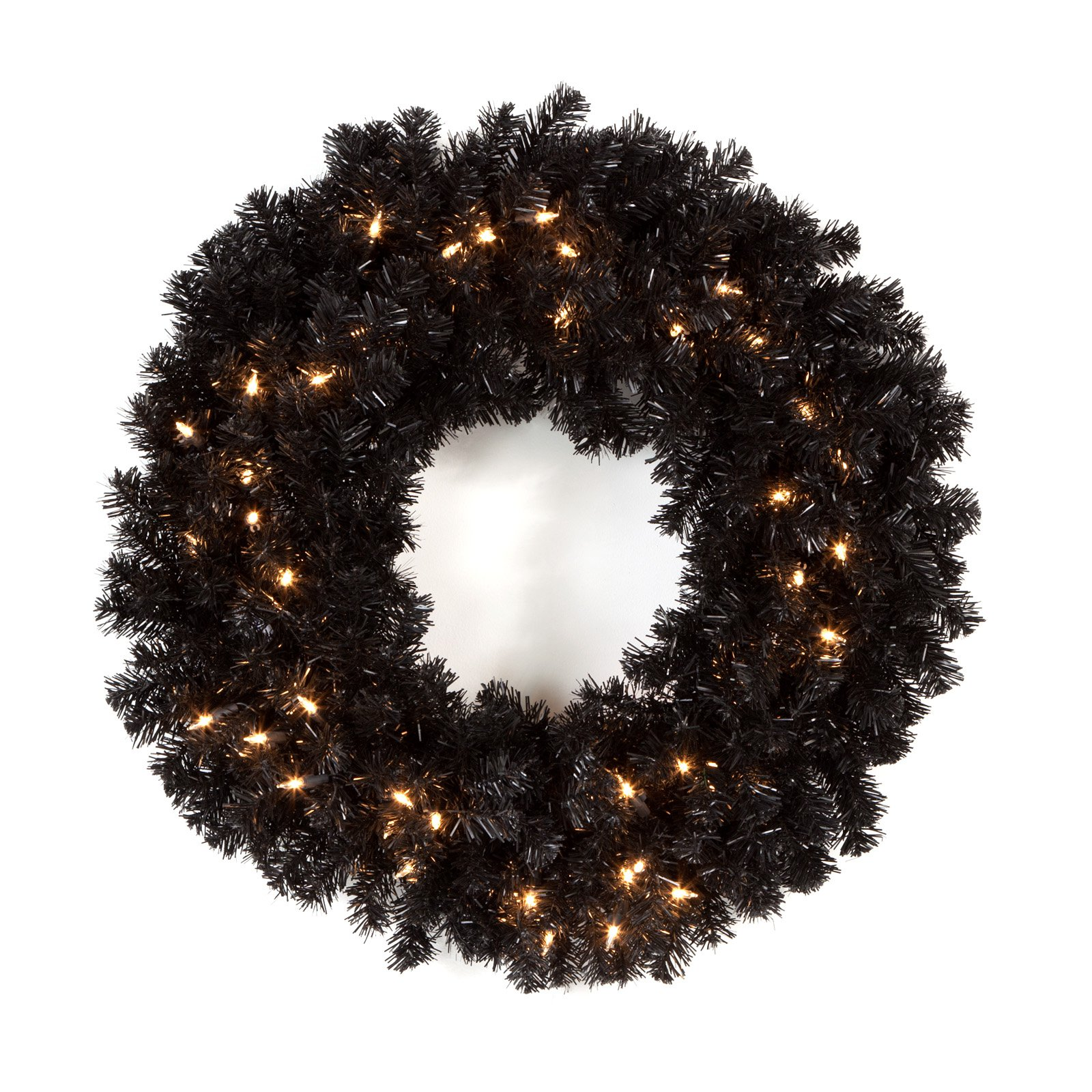 24 in. Classic Black Pre-lit Wreath