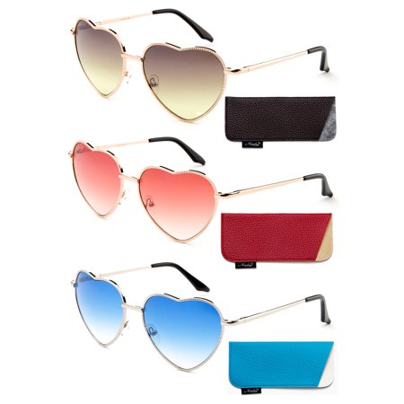 Women Heart Sunglasses Metal Frame Spring Hinged Lovely Aviator Heart Shape Mirror Flash Lens ()