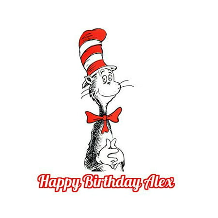 1/4 Sheet Dr. Seuss Cat in the Hat Edible Frosting Cake Topper- 78196* - Dr Seuss Cake Topper