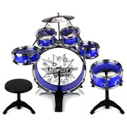 Velocity Toys' Toy Drum Set for Children 11 Piece Kid's Musical Instrument Drum Playset w/ 6 Drums, Cymbal, Chair, Kick Pedal, Drumsticks (Blue)