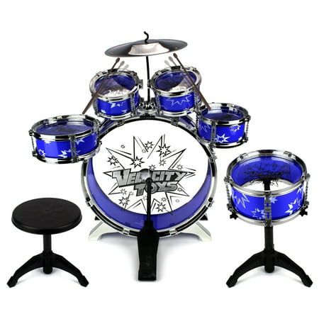 Performer Drum Set (Velocity Toys' Toy Drum Set for Children 11 Piece Kid's Musical Instrument Drum Playset w/ 6 Drums, Cymbal, Chair, Kick Pedal, Drumsticks (Blue) )