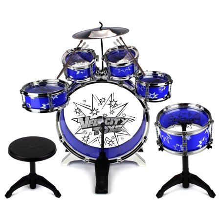 Velocity Toys' Toy Drum Set for Children 11 Piece Kid's Musical Instrument Drum Playset w/ 6 Drums, Cymbal, Chair, Kick Pedal, Drumsticks