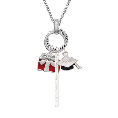 Red Present 2018 Graduation Twist Ring Charm Necklace (Graduation Present)
