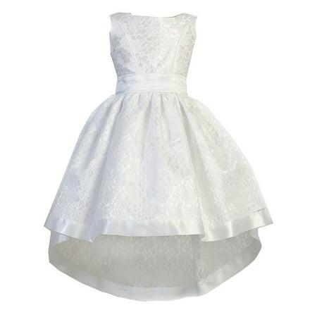 Ellie Kids Little Girls White Lace Satin Sash Bow Hi-Low Flower Girl Dress](Flower Girl White Dresses)