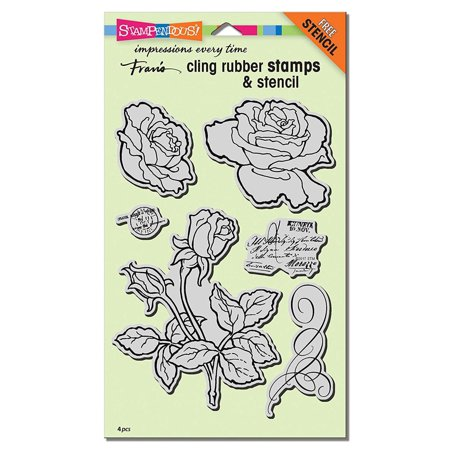 Die Set Garden - Cling Rubber Stamp Set, Rose Garden W/Template, Matching dies are also available By STAMPENDOUS