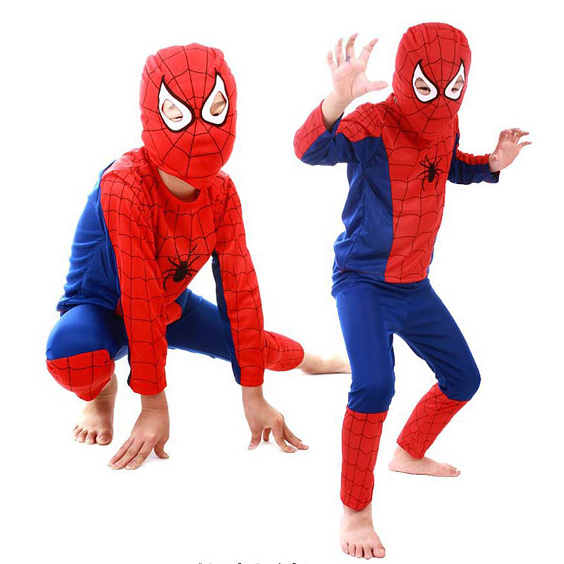 DYMADE Fancy Kids Boy Spider-Man Superman Batman Costume Cosplay Clothing Suit S M L XL Black