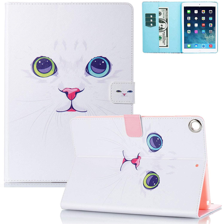 Mini iPad Case, iPad mini Case 1 2 3 Case, Goodest PU Leather Slim Fit Shockproof Folding Stand Smart Cover with Auto Sleep Wake Function Folio Wallet Case for Apple iPad mini 1 2 3, White Cat