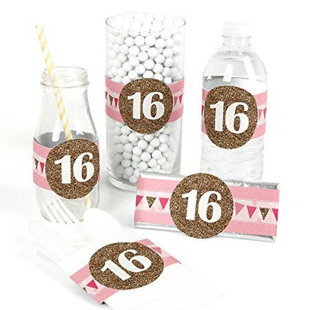 Sweet 16 - DIY Party Wrapper Favors - Set of 15