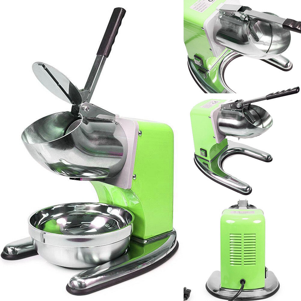 FonChefs Green Commercial Ice Shaver Dual Blade 143lb/h Crusher Shaved Ice Maker Machine