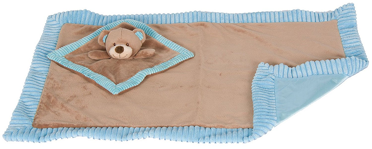 """KellyBaby 30"""" Soft Baby Blanket with Satin Lining and Matching Security Blanket Rattle Toy, Blue Teddy... by KellyBaby"""