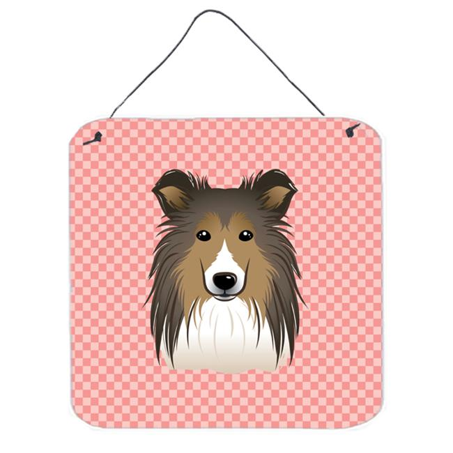 Checkerboard Blue Sheltie Aluminum Metal Wall Or Door Hanging Prints, 6 x 6 In.