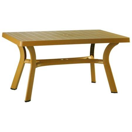 """Atlin Designs 55"""" Resin Patio Dining Table in Teak Brown"""
