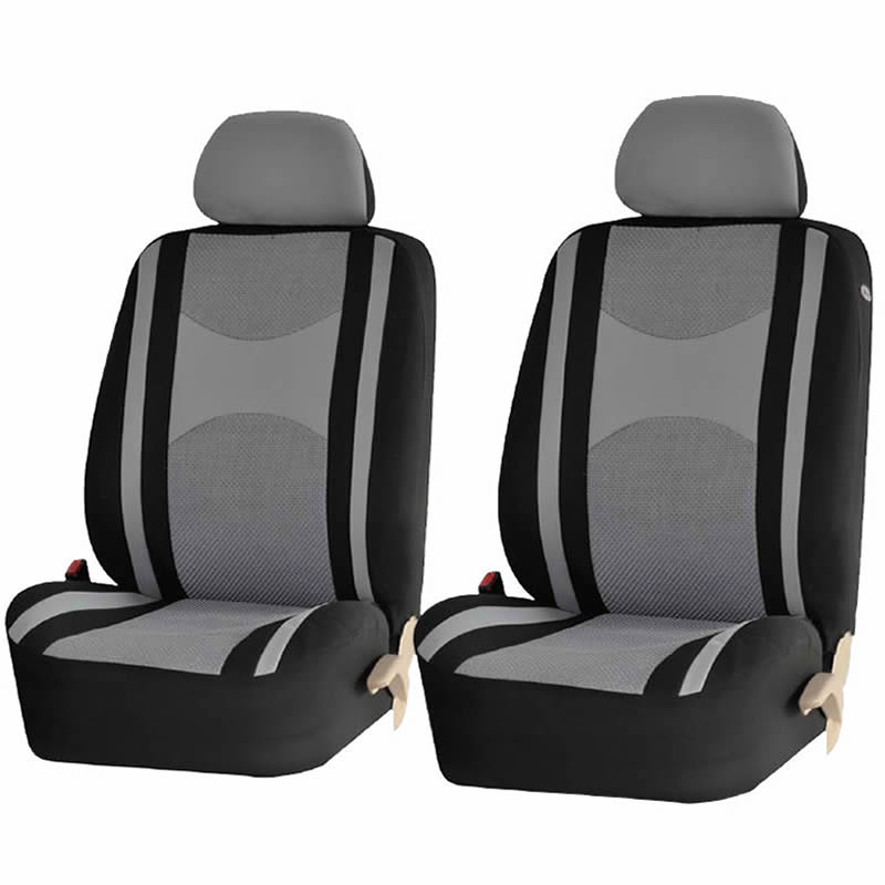 4 Piece Gray & Black Mesh Honeycomb Low back Front Seat Covers Double Stitched Universal Car Truck SUV