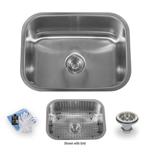 "Miseno MSS2318C 23-1/2"" Undermount Single Basin Stainless Steel Kitchen Sink - Drain Assembly, Basin Rack and Maintenance Kit Included"