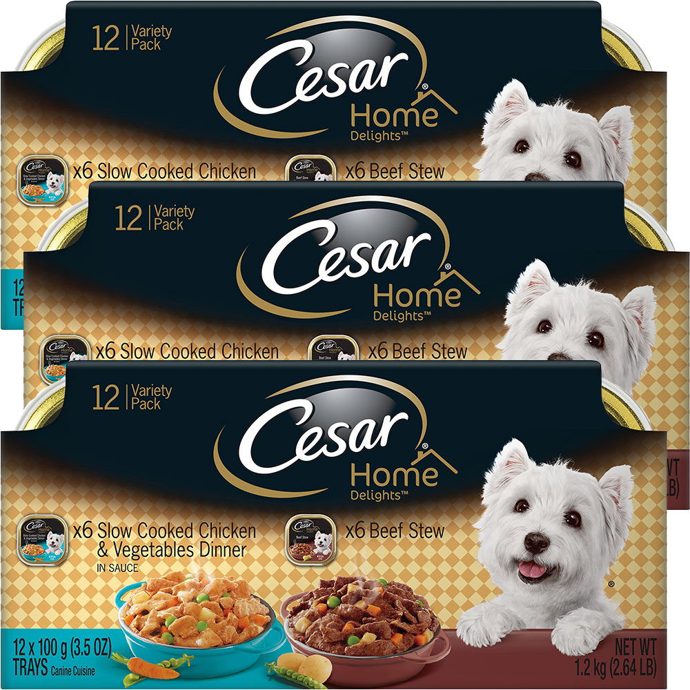 (3 Pack) CESAR HOME DELIGHTS Wet Dog Food Chicken & Vegetables and Beef Stew Variety Pack, (12) 3.5 oz. Trays