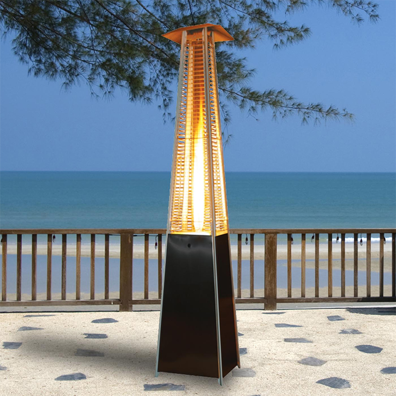 XtremepowerUS Outdoor Patio Heater Tower Pyramid Flame LP 42000BTU, Mocha