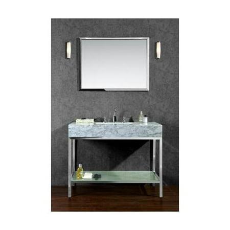 Ariel scbri48pss brightwater 48 single sink bathroom vanity set with marble top bottom shelf for Bathroom vanities with open bottom shelf