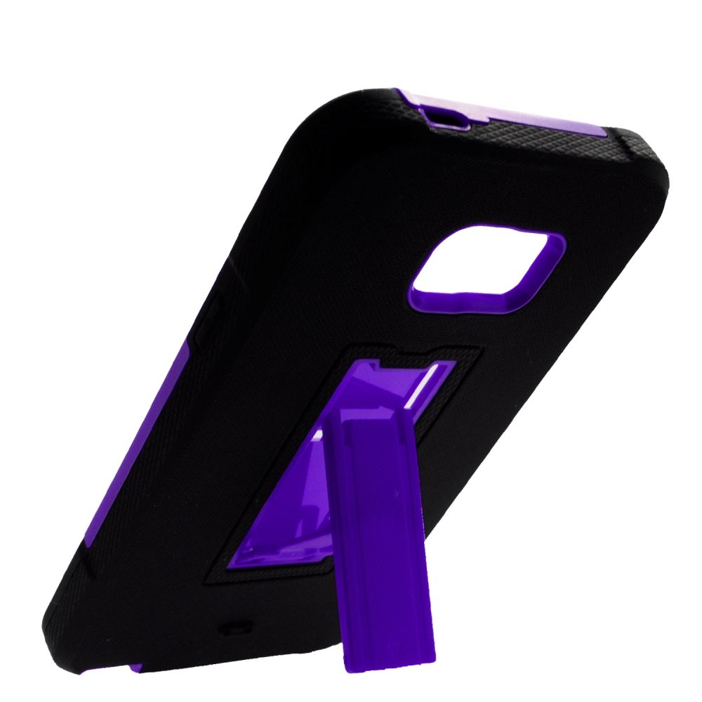 Insten Symbiosis Hard Dual Layer Rubberized Silicone Case w/stand For Samsung Galaxy Note 5 - Black/Purple - image 2 of 3