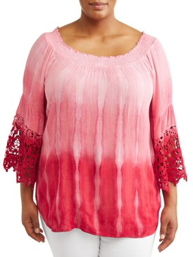 2bb9b96d0 Product Image Women's Plus Size Dip Dye Peasant With lace Sleeves