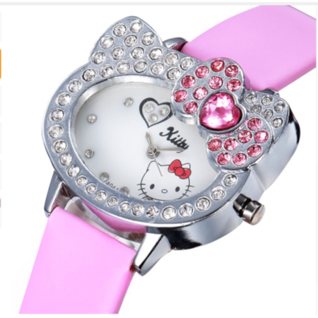Heart Shaped Crystal Watches - Hello Kitty Style Crystal Stones Pink Heart Bow Girls Watch-HK-189-LP