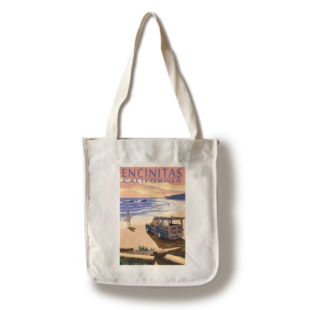 Encinitas, California - Woody on Beach - Lantern Press Poster (100% Cotton Tote Bag - Reusable) - California Tote Bag