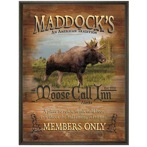 "Personalized Moose Call Inn Canvas Framed Art, 18"" x 24"""