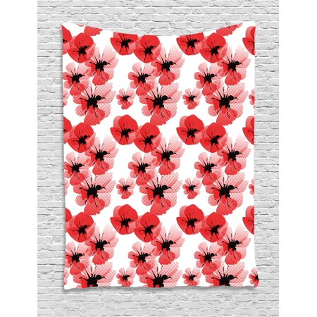 Floral Tapestry, Poppies Retro Halftone Effect Fertility and Eternal Life Symbols Vintage, Wall Hanging for Bedroom Living Room Dorm Decor, 40W X 60L Inches, Vermilion Black White, by (Eternal Life Symbols)