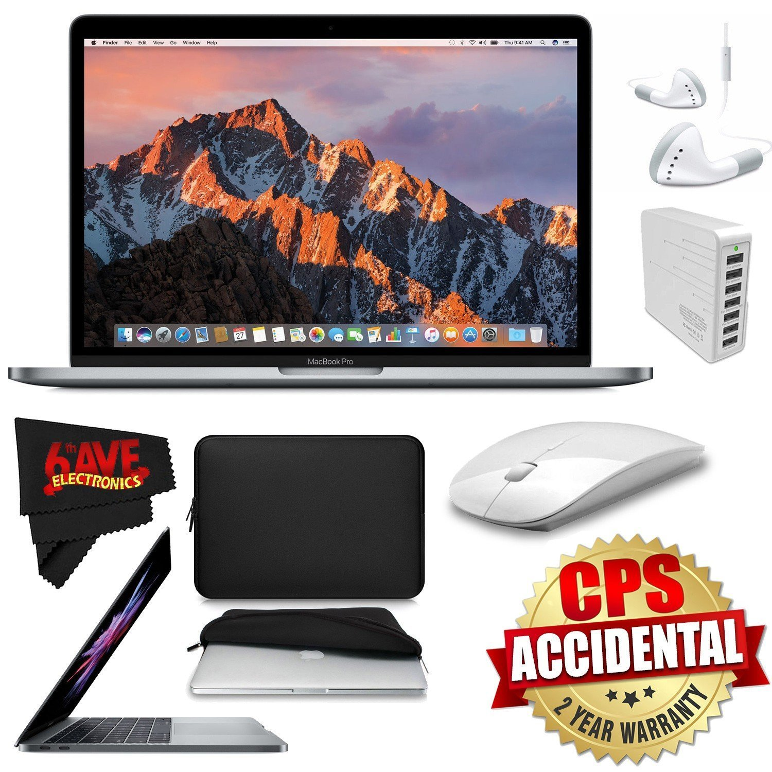 "6Ave Apple 13.3"" MacBook Pro 512GB SSD (Silver) + Padded Case For Macbook + 2.4 GHz Slim Optical Wireless Bluetooth + iHip IP-IV-WH Fiber Cord Headphone with In-Line Microphone Bundle"