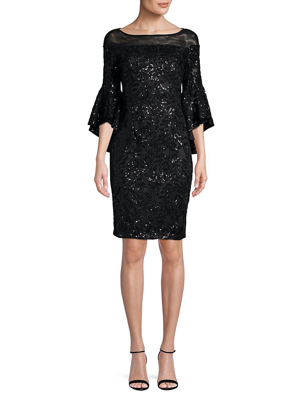 Illusion Off-Shoulder Sequin Flounce Dress